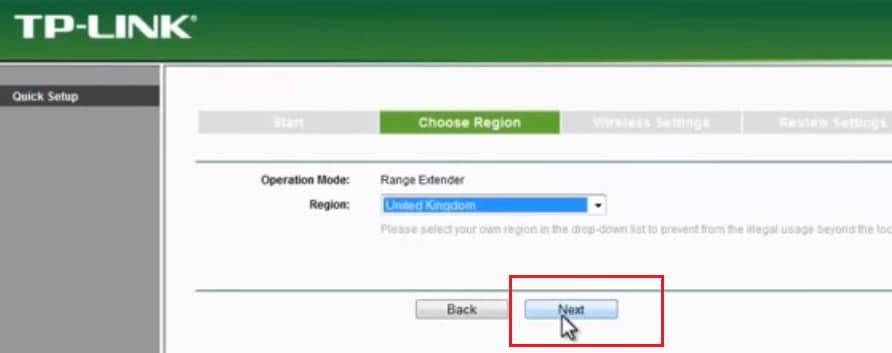 tp link range setup extender